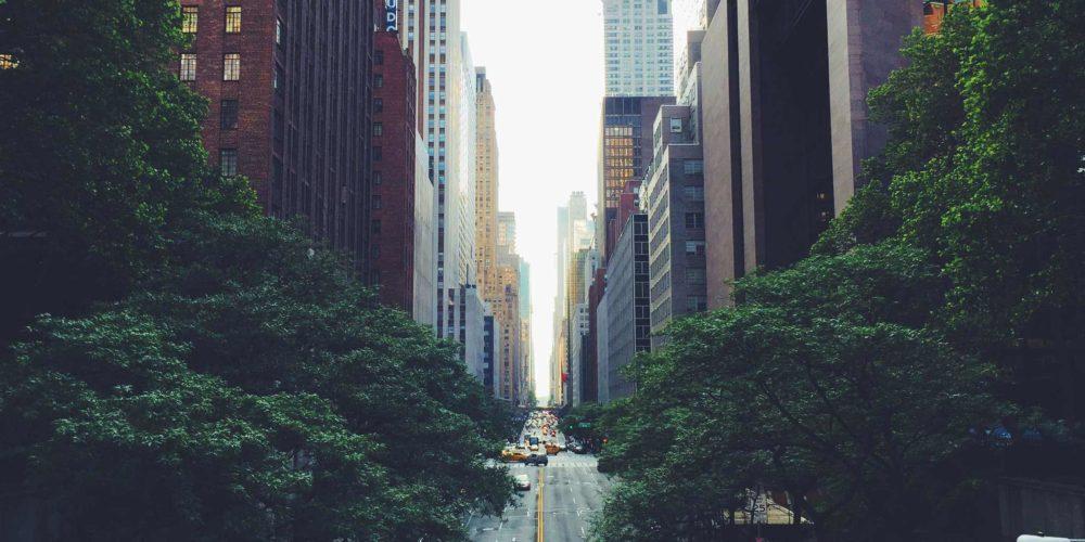 View down Manhattan city street